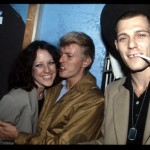 Bowie @ Peppermint Lounge NYC with Lisa  Robinson of Vanity Fair magazine, and The Clash's Paul Simenon. Pic by Joe Stevens
