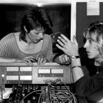 David working at the studio in the Chateau d'Heroville inFrance. With Spiders From Mars leader Mick Ronson. Pic: Joe Stevens